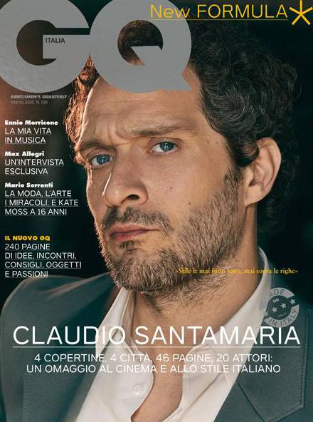 Gq Italia Claudio Santamaria hair Luca Lazzaro celebrities cover man