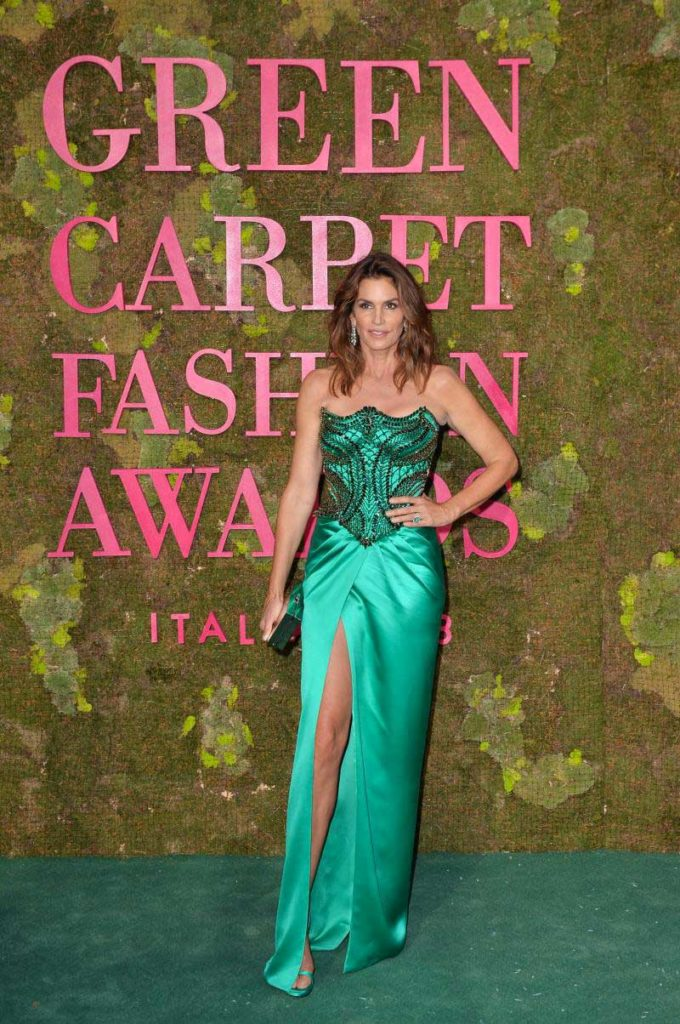 Green carpet fashion awards make-up Silvana Belli Cindy Crawford